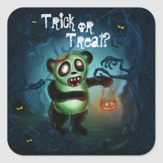 Zombie Panda Halloween Forest Square Sticker