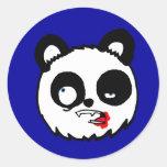 Zombie Panda Head Round Stickers
