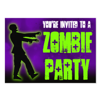 Zombie Party, Green Walker 5x7 Paper Invitation Card