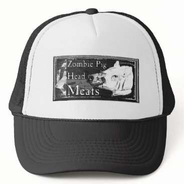 Halloween Themed Zombie Pig Head Meats -Since 1968 Black & White Trucker Hat