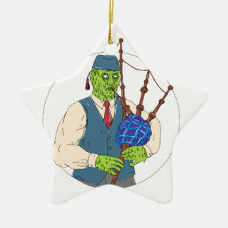 Zombie Piper Playing Bagpipes Grime Art Ceramic Ornament