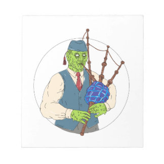 Zombie Piper Playing Bagpipes Grime Art Notepad