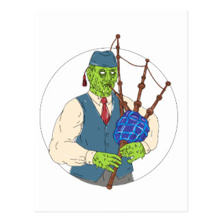 Zombie Piper Playing Bagpipes Grime Art Postcard