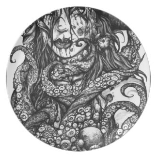 Zombie Pirate Girl Dinner Plate