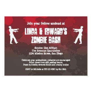 Zombie plague invasion red splatter gore Halloween 5x7 Paper Invitation Card