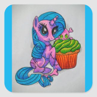 Zombie pony square sticker