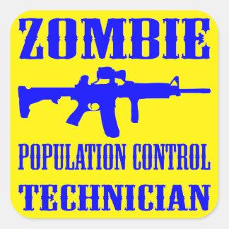 Zombie Population Control Technician Square Sticker