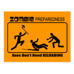 Zombie Preparedness Axes Reload Design Postcard