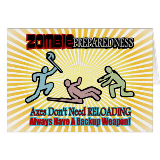 Zombie Preparedness Axes Reloading Design Greeting Cards