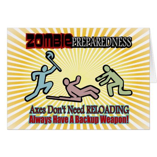 Zombie Preparedness Axes Reloading Design Card