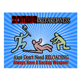 Zombie Preparedness Axes Reloading Design Postcard