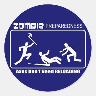 Zombie Preparedness Axes Reloading WHITE Design Classic Round Sticker