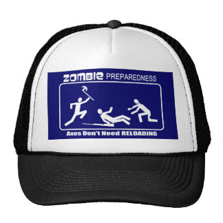 Zombie Preparedness Axes Reloading WHITE Design Hat