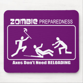 Zombie Preparedness Axes Reloading WHITE Design Mouse Pad