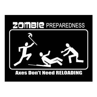 Zombie Preparedness Axes Reloading WHITE Design Postcard
