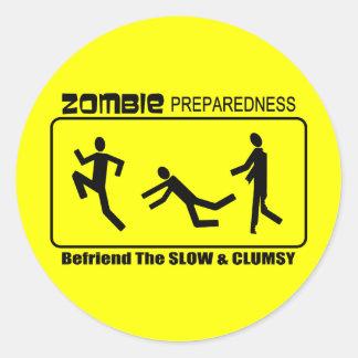 Zombie Preparedness Befriend Slow ALL COLOR Design Classic Round Sticker