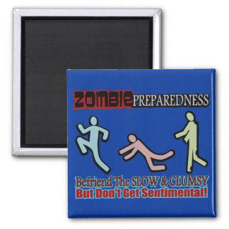 Zombie Preparedness Befriend Slow Design 2 Inch Square Magnet