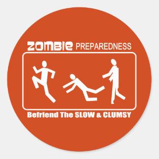 Zombie Preparedness Befriend Slow WHITE Design Classic Round Sticker