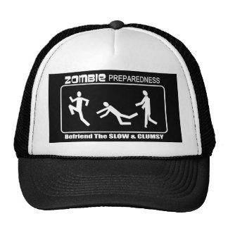 Zombie Preparedness Befriend Slow WHITE Design Mesh Hats
