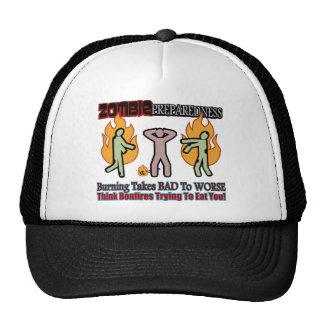 Zombie Preparedness Burning Undead Design Trucker Hats