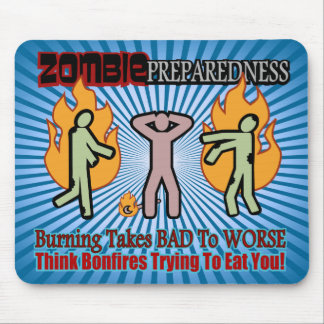 Zombie Preparedness Burning Undead Design Mouse Pad