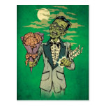 zombie prom date with brain roses postcard