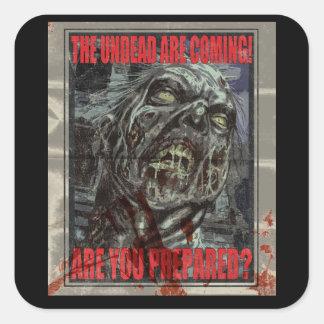 Zombie Propaganda Poster Square Sticker