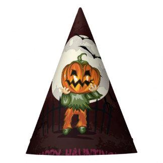 Zombie pumpkins head in graveyard Halloween Party Hat