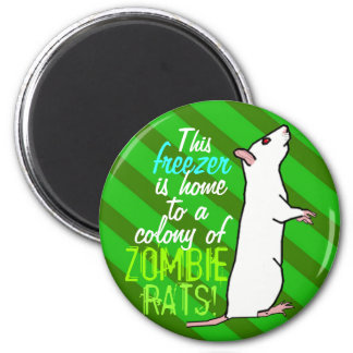 zombie Rats round magnet #1 (albino oh green)