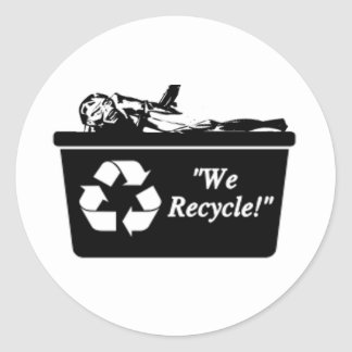 Zombie Recycle Classic Round Sticker