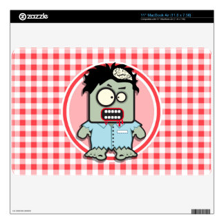 Zombie; Red and White Gingham Skin For MacBook