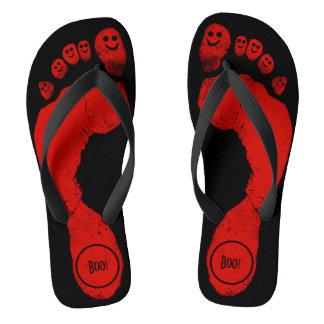 Zombie Red Footprints Smiley-Toes™ Halloween Black Flip Flops