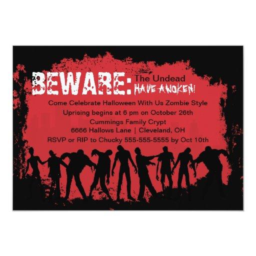 "Zombie Red Halloween Party Invitation 5"" X 7"" Invitation Card"
