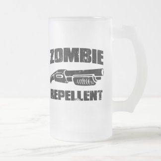 zombie repellent - the shotgun 16 oz frosted glass beer mug