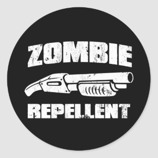 zombie repellent - the shotgun classic round sticker