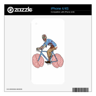 Zombie Riding Bike With Brain Wheels iPhone 4 Decal