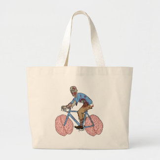 Zombie Riding Bike With Brain Wheels Large Tote Bag