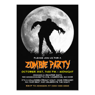Zombie Rises Apocalypse Party Full Moon Halloween 4.5x6.25 Paper Invitation Card