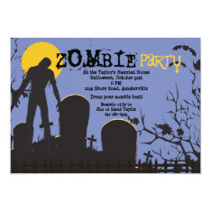 Zombie Rises Halloween Party Invitation at Zazzle
