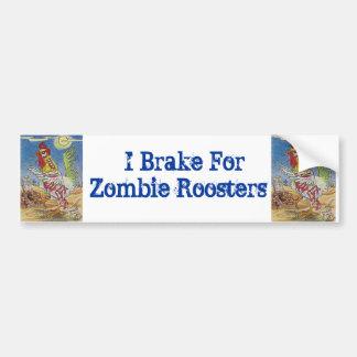 Zombie Rooster Chicken Halloween Art Bumper Sticker