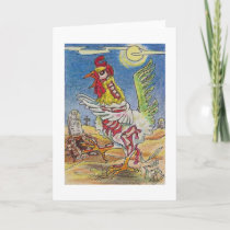 Zombie Rooster Chicken Halloween Art Card