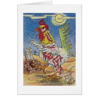 Zombie Rooster Chicken Halloween Art Card