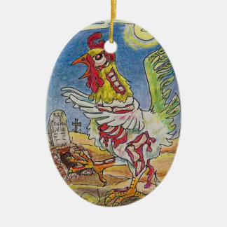 Zombie Rooster Chicken Halloween Art Double-Sided Oval Ceramic Christmas Ornament