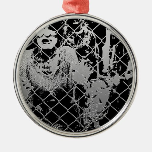 Zombie Round Metal Christmas Ornament