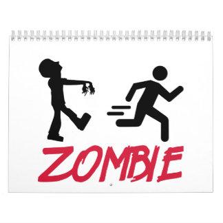 Zombie running person wall calendar