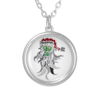 Zombie Santa Claus Silver Plated Necklace