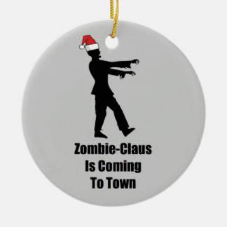 Zombie Santa Double-Sided Ceramic Round Christmas Ornament