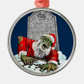 Zombie Santa Rises Metal Ornament