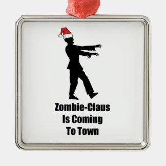 Zombie Santa Square Metal Christmas Ornament