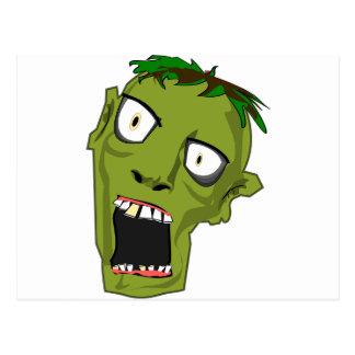 Zombie Scary Dead Halloween Face Cartoon Postcard